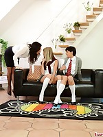 Lesbians trio in nylons and uniform