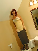 Mature girdle and slip tease