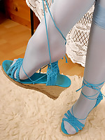 Encasement in blue Pantyhose Layers